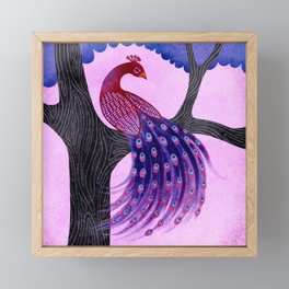 Peacock in the tree Framed Mini Art Print