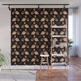 I love acorns - Black Wall Mural