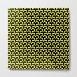 Yellow Triangles on Black Metal Print