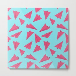 Paper Planes Pattern | Pink and Blue Metal Print