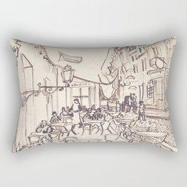 Preparatory Design of Café Terrace at Night Rectangular Pillow