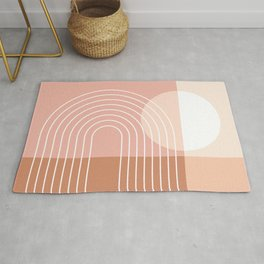 Color Block Geometric Lines in Brown Pastel Shades (Minimalist Sun Rainbow Abstract) Rug