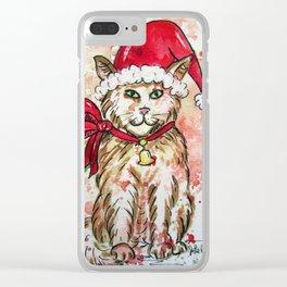 Santa Cat Clear iPhone Case