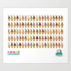 Kawaii 100 Soft Serve Ice Cream Cone Combinations  Art Print