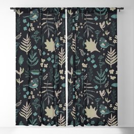 Night Nature Floral Pattern Blackout Curtain