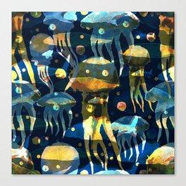 Underwater life. Jellyfish. Hand drawn illustration. Watercolor seamless pattern. Canvas Print