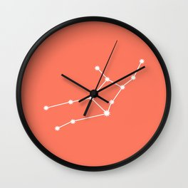 Virgo Zodiac Constellation - Coral Red Wall Clock
