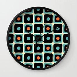 Mid Century Square Dot Pattern 4 Wall Clock