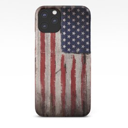 Wood American flag iPhone Case