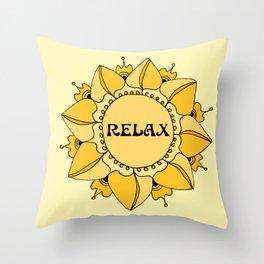 Relax Nouveau Golden Sun Mandala Throw Pillow