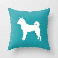 shiba inu Throw Pillows featuring Shiba Inu (Aqua/White) by Sketchy & Shady