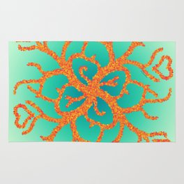 Fire Coral Hearts Rug