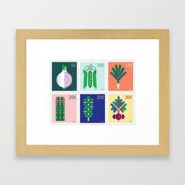Vegetable Stamps Framed Art Print