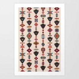 American Prairie Ethnic Tribal Seamless Pattern Art Print