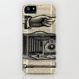 nautical compass dictionary print steampunk skeleton keys antique camera iPhone Case