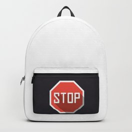 """Print Road sign """"Stop"""" in flat design modern illustration with long shadow effect Backpack"""