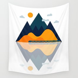 Fall Train Rides Through the Mountains Wall Tapestry