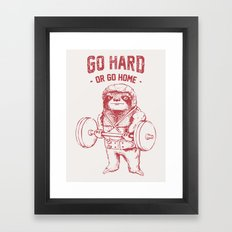 Go Hard or Go Home Sloth Framed Art Print