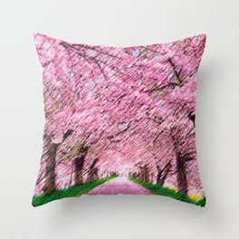 Cherry blossoms on an old New England back road landscape painting by Jéanpaul Ferro Throw Pillow