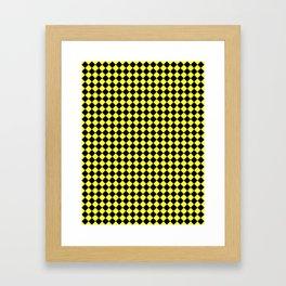 Black and Electric Yellow Diamonds Framed Art Print
