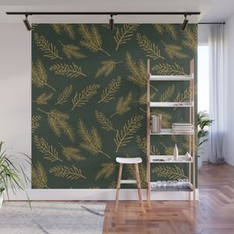 Gold Pine - dark green background Wall Mural
