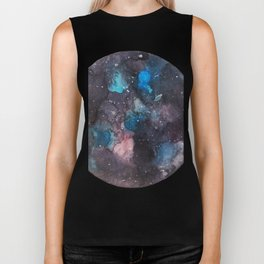Galaxy round shape with stars Biker Tank