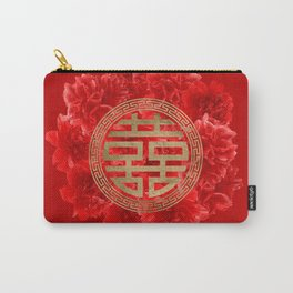 Double Happiness Symbol on Red Peonies Carry-All Pouch