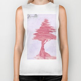 Red Tree watercolor on old paper Biker Tank
