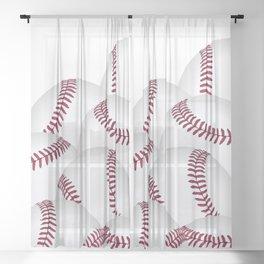 Pile of Baseballs  Sheer Curtain