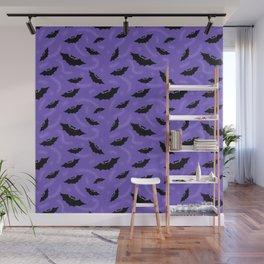 Purple Halloween Bats Pattern Wall Mural