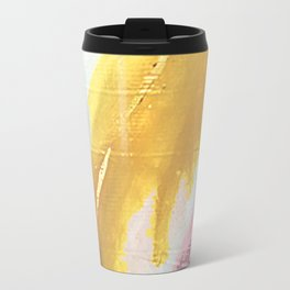 Ambition: a colorful abstract piece in bold yellow, blue, pink, red, and gold Travel Mug