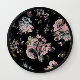 Dark Floral Pink Wall Clock