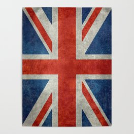 "UK British Union Jack flag ""Bright"" retro Poster"