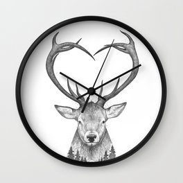 Deer with heart Wall Clock