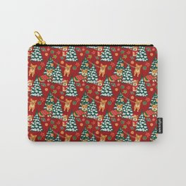 Corgis decorate the christmas tree - red pattern Carry-All Pouch