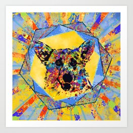 Colorful Corgi Portrait Abstract Mixed Media Art Print