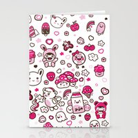 kawaii Stationery Cards featuring Kawaii Friends by Gina Mayes