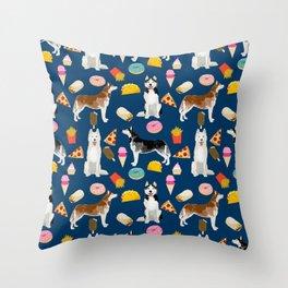 Husky siberian huskies junk food cute dog art sweet treat dogs pet portrait pattern Throw Pillow