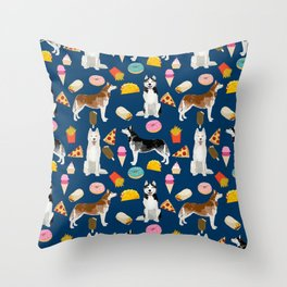 Husky siberian huskies junk food cute dog art sweet treat dogs pet portrait pattern Throw Pillow