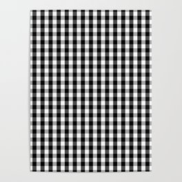 Classic Black & White Gingham Check Pattern Poster