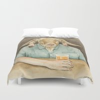 dad Duvet Covers featuring Goat Dad by Corrina Ulrich