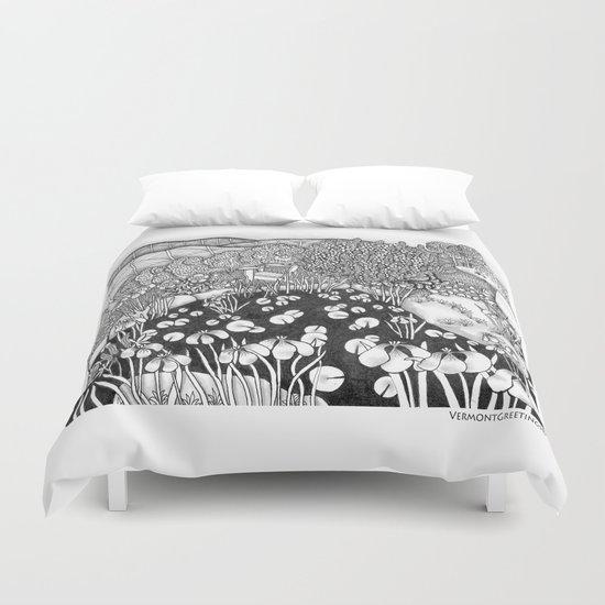 Zentangle Vermont Landscape Black and White Illustration Duvet Cover