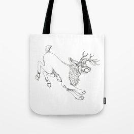 Jackalope Hopping Doodle Art Tote Bag