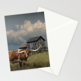 Longhorn Steer in a Prairie pasture by 1880 Town with Windmill and Old Gray Wooden Barn Stationery Cards