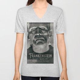 Frankenstein, vintage movie poster, Boris Karloff, horror film, Mary Shelley book cover Unisex V-Neck
