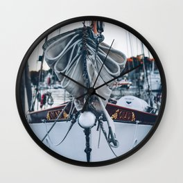The Bow of a Classic Sailboat Wall Clock