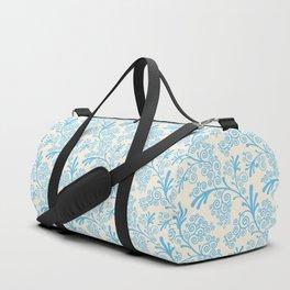 Vintage chic pastel blue ivory floral damask pattern Duffle Bag