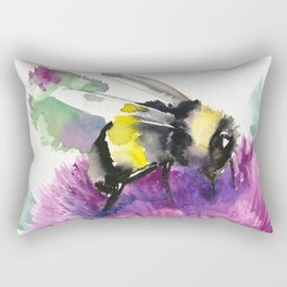 Bumblebee and Thistle Flower, honey bee floral Rectangular Pillow
