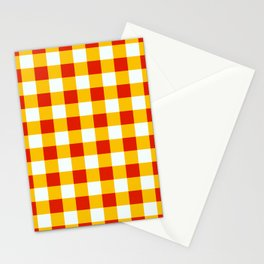 Red White Yellow Checkerboard Pattern Stationery Cards