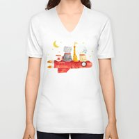 bruno mars V-neck T-shirts featuring Let's All Go To Mars by Picomodi